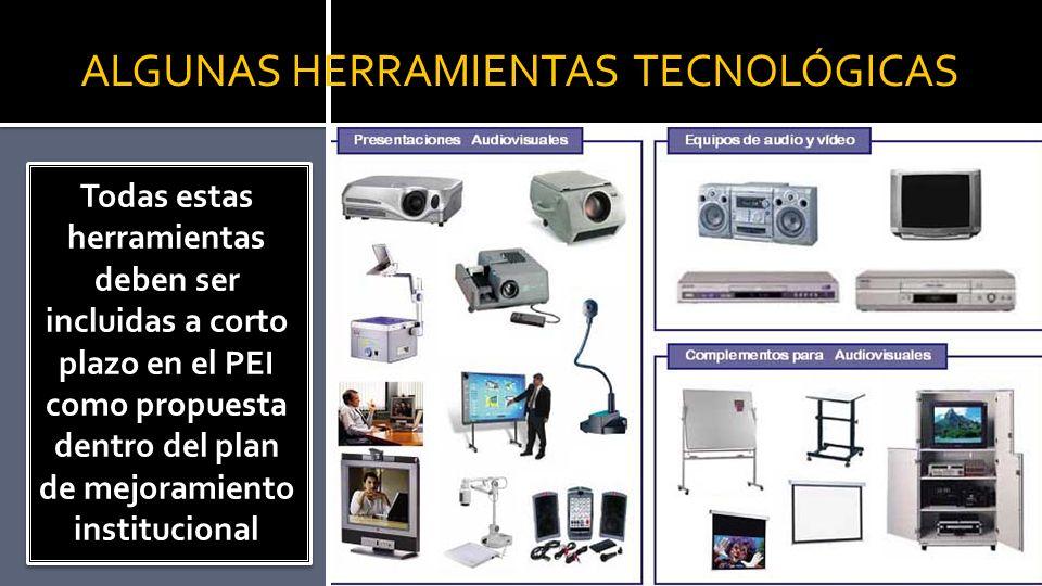 ALGUNAS HERRAMIENTAS TECNOLÓGICAS Todas estas herramientas deben ser incluidas a corto plazo en el PEI como propuesta dentro del plan de mejoramiento