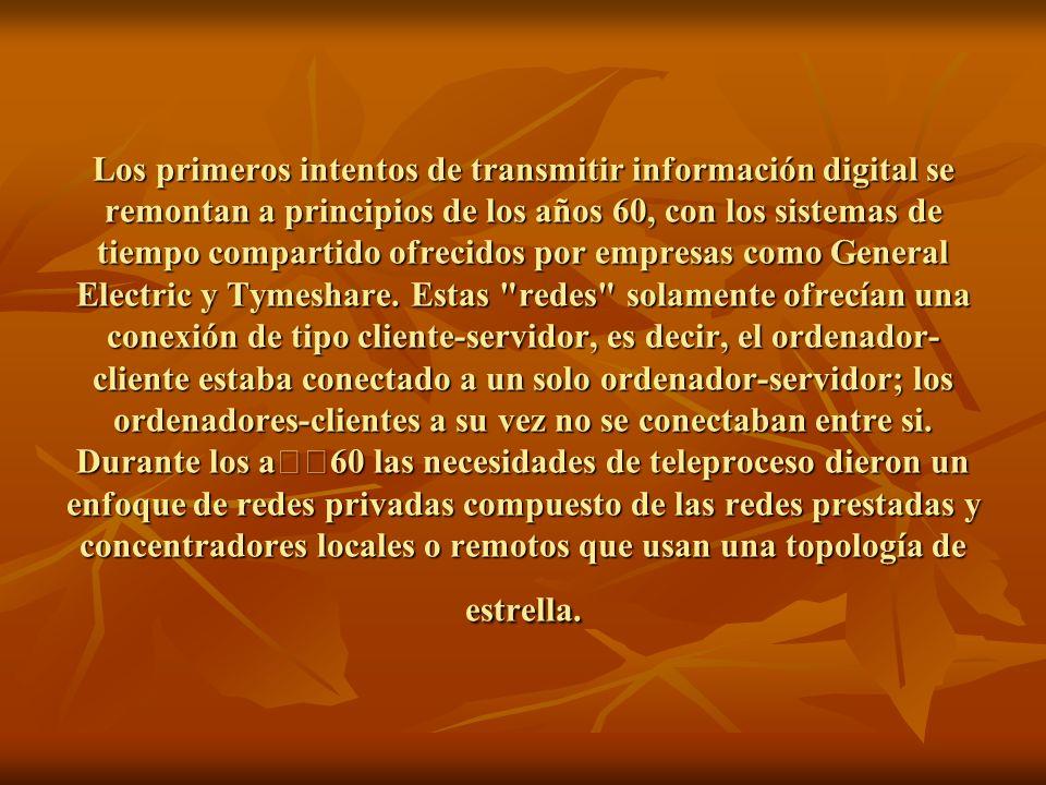 Los primeros intentos de transmitir información digital se remontan a principios de los años 60, con los sistemas de tiempo compartido ofrecidos por empresas como General Electric y Tymeshare.