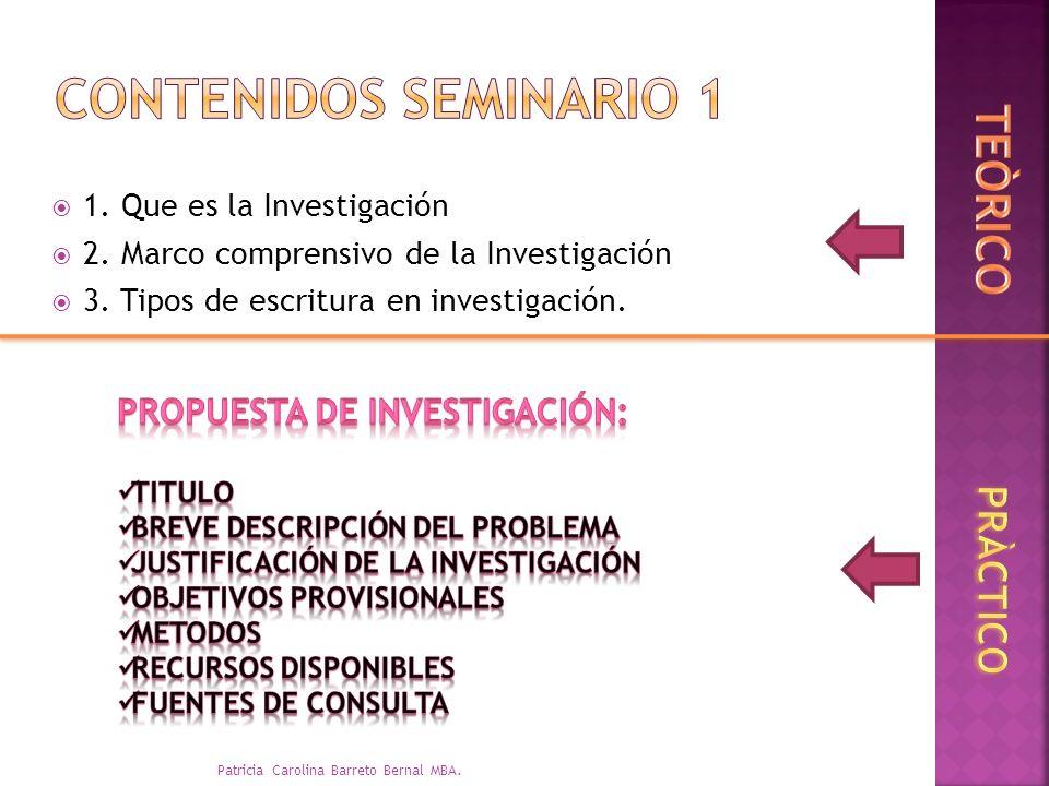 1. Que es la Investigación 2. Marco comprensivo de la Investigación 3. Tipos de escritura en investigación. Patricia Carolina Barreto Bernal MBA.