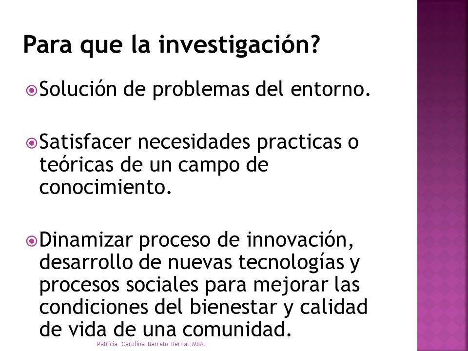 Solución de problemas del entorno. Satisfacer necesidades practicas o teóricas de un campo de conocimiento. Dinamizar proceso de innovación, desarroll
