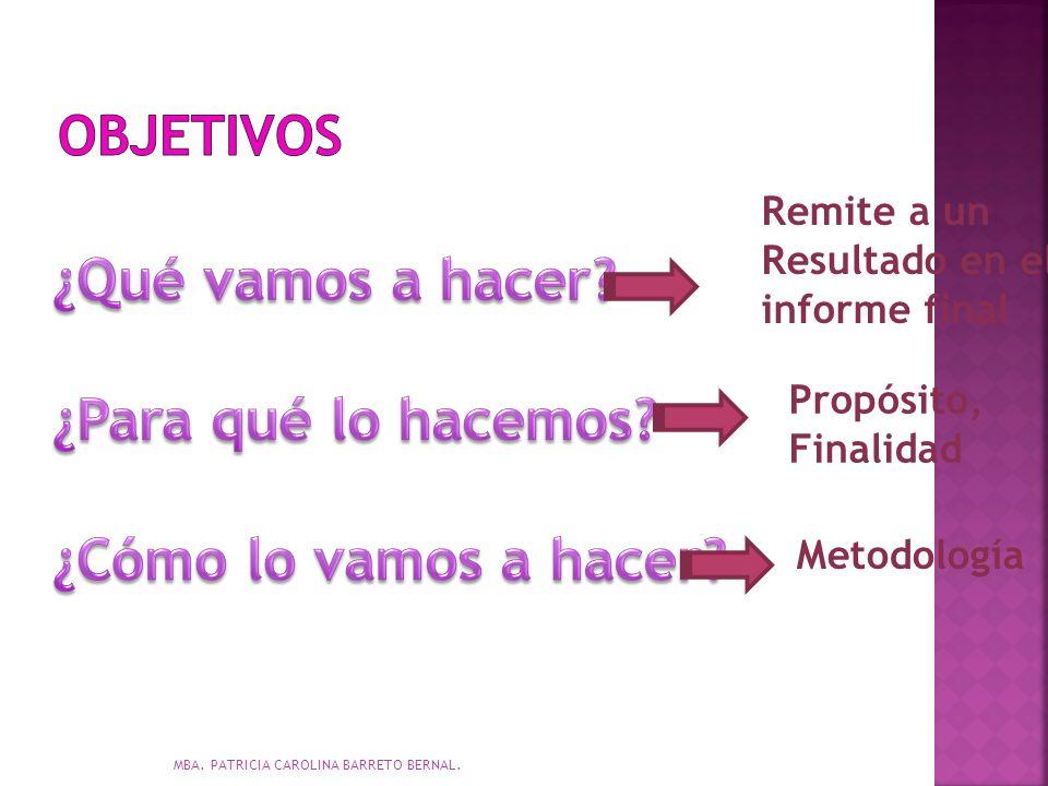 Remite a un Resultado en el informe final Propósito, Finalidad Metodología MBA. PATRICIA CAROLINA BARRETO BERNAL.