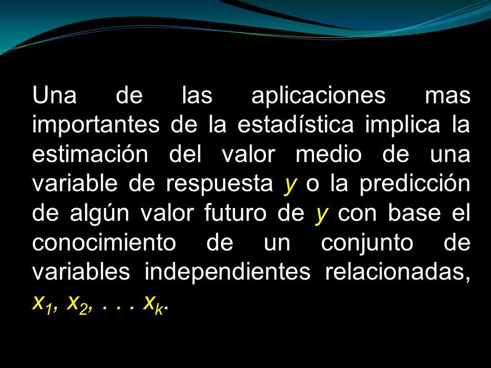 Una de las aplicaciones mas importantes de la estadística implica la estimación del valor medio de una variable de respuesta y o la predicción de algú