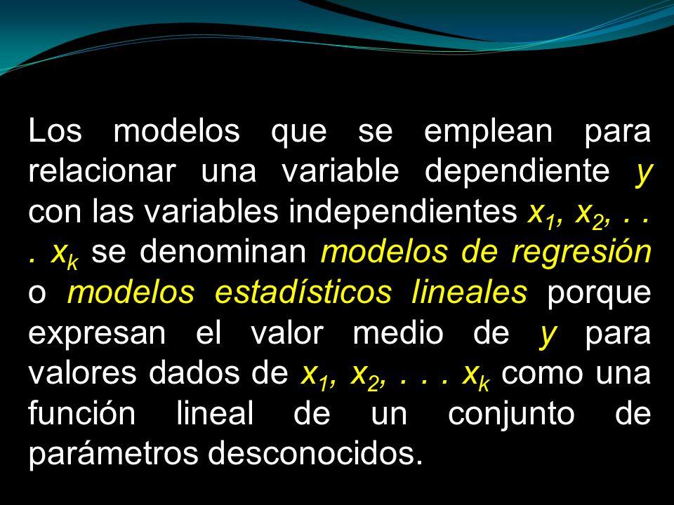 Los modelos que se emplean para relacionar una variable dependiente y con las variables independientes x 1, x 2,... x k se denominan modelos de regres