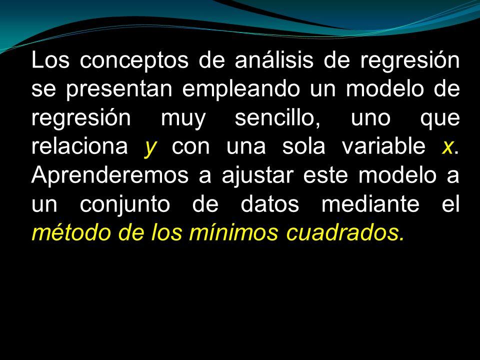 Los conceptos de análisis de regresión se presentan empleando un modelo de regresión muy sencillo, uno que relaciona y con una sola variable x. Aprend