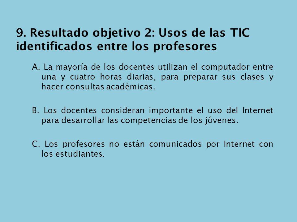 9. Resultado objetivo 2: Usos de las TIC identificados entre los profesores A. La mayoría de los docentes utilizan el computador entre una y cuatro ho