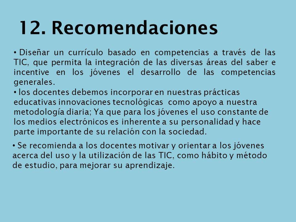 12. Recomendaciones Diseñar un currículo basado en competencias a través de las TIC, que permita la integración de las diversas áreas del saber e ince