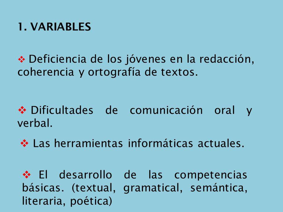 1. VARIABLES Deficiencia de los jóvenes en la redacción, coherencia y ortografía de textos. Dificultades de comunicación oral y verbal. Las herramient