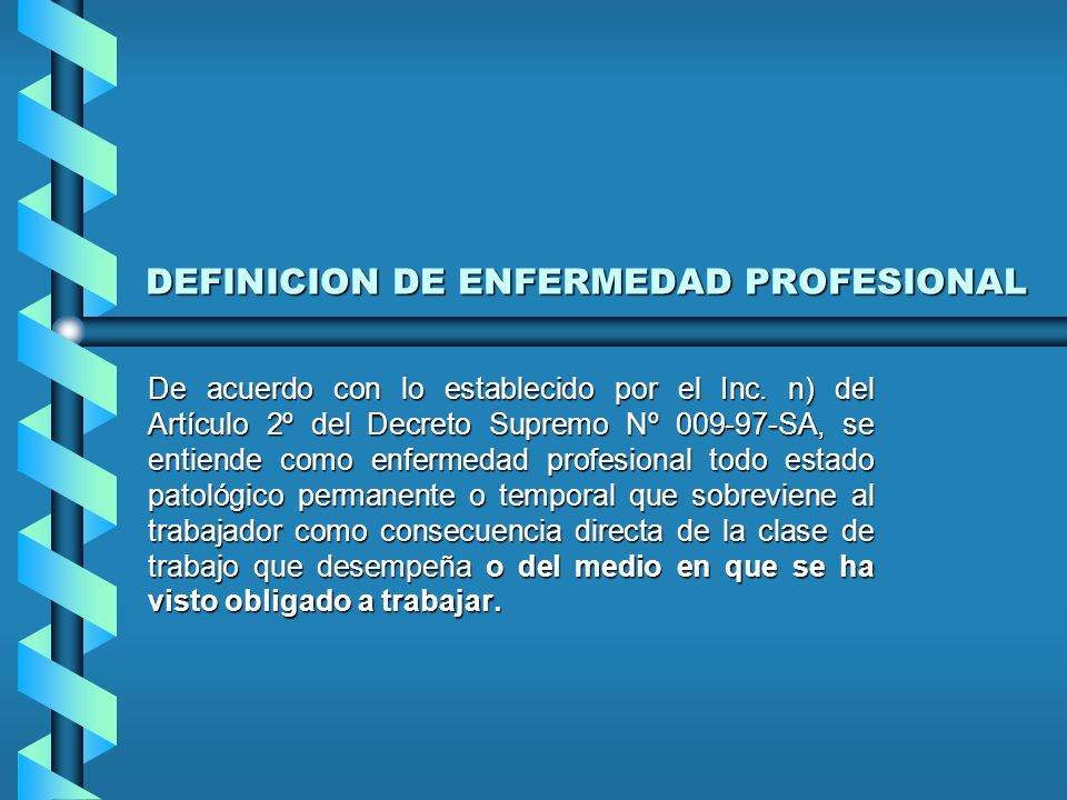 DEFINICION DE ACCIDENTE DE TRABAJO Toda lesión corporal producida en el centro de trabajo o con ocasión de las labores para las cuales ha sido contrat