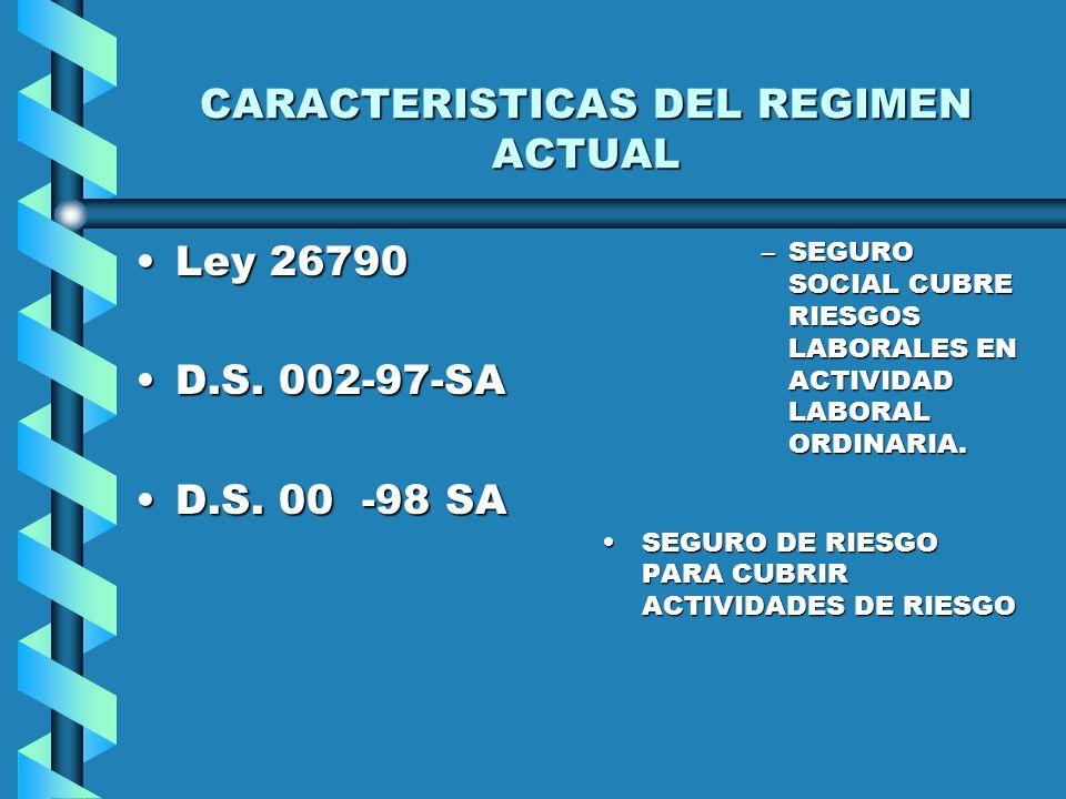 EVOLUCION DE LA LEGISLACION SOBRE RIESGOS LABORALES Ley 1378 ( 20 de enero de 1911)Ley 1378 ( 20 de enero de 1911) Régimen del D.L. 18846Régimen del D