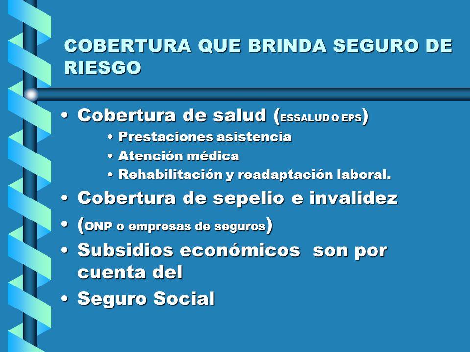 CARACTERISTICAS DEL REGIMEN ACTUAL Ley 26790Ley 26790 D.S. 002-97-SAD.S. 002-97-SA D.S. 00 -98 SAD.S. 00 -98 SA –SEGURO SOCIAL CUBRE RIESGOS LABORALES