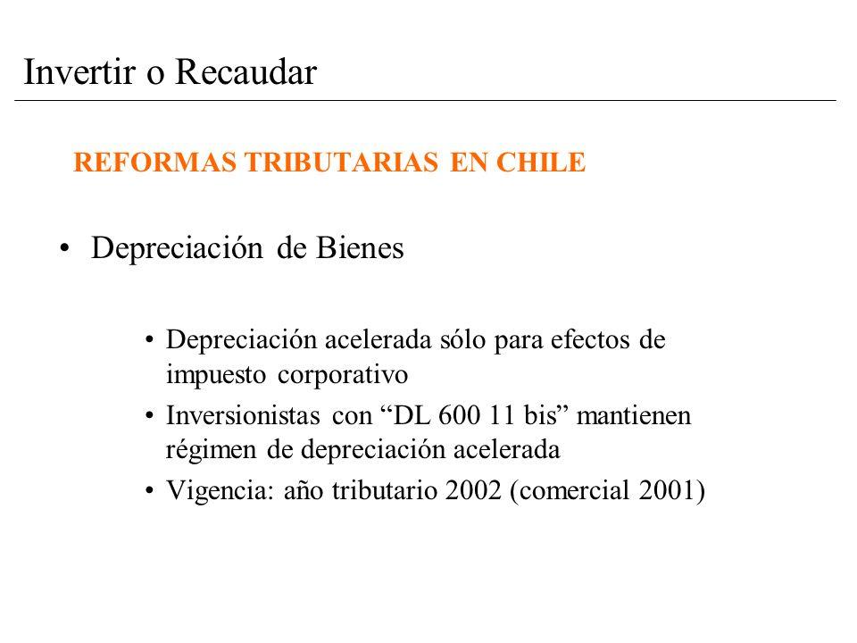 REFORMAS TRIBUTARIAS EN CHILE Depreciación de Bienes Depreciación acelerada sólo para efectos de impuesto corporativo Inversionistas con DL 600 11 bis mantienen régimen de depreciación acelerada Vigencia: año tributario 2002 (comercial 2001) Invertir o Recaudar