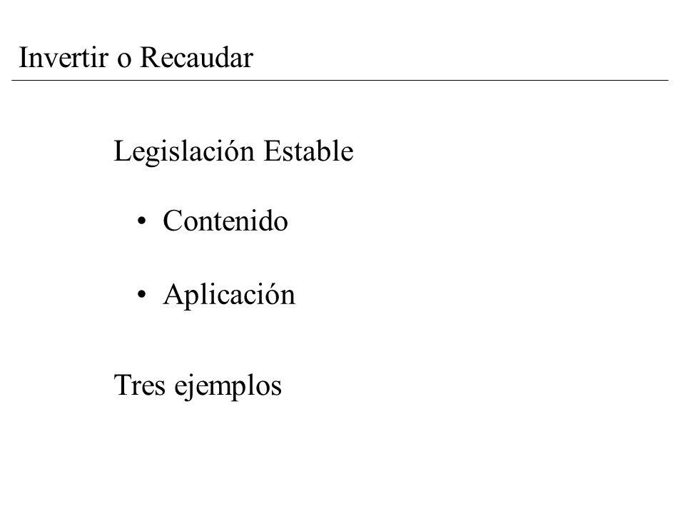 Legislación Estable Contenido Aplicación Tres ejemplos Invertir o Recaudar