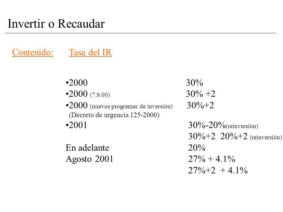Contenido:Tasa del IR 2000 30% 2000 (7.9.00) 30% +2 2000 (nuevos programas de inversión) 30%+2 (Decreto de urgencia 125-2000) 2001 30%-20% (reinversión) 30%+2 20%+2 (reinversión) En adelante 20% Agosto 2001 27% + 4.1% 27%+2 + 4.1%