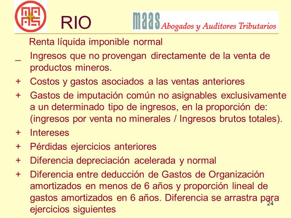 24 Renta líquida imponible normal _Ingresos que no provengan directamente de la venta de productos mineros. + Costos y gastos asociados a las ventas a