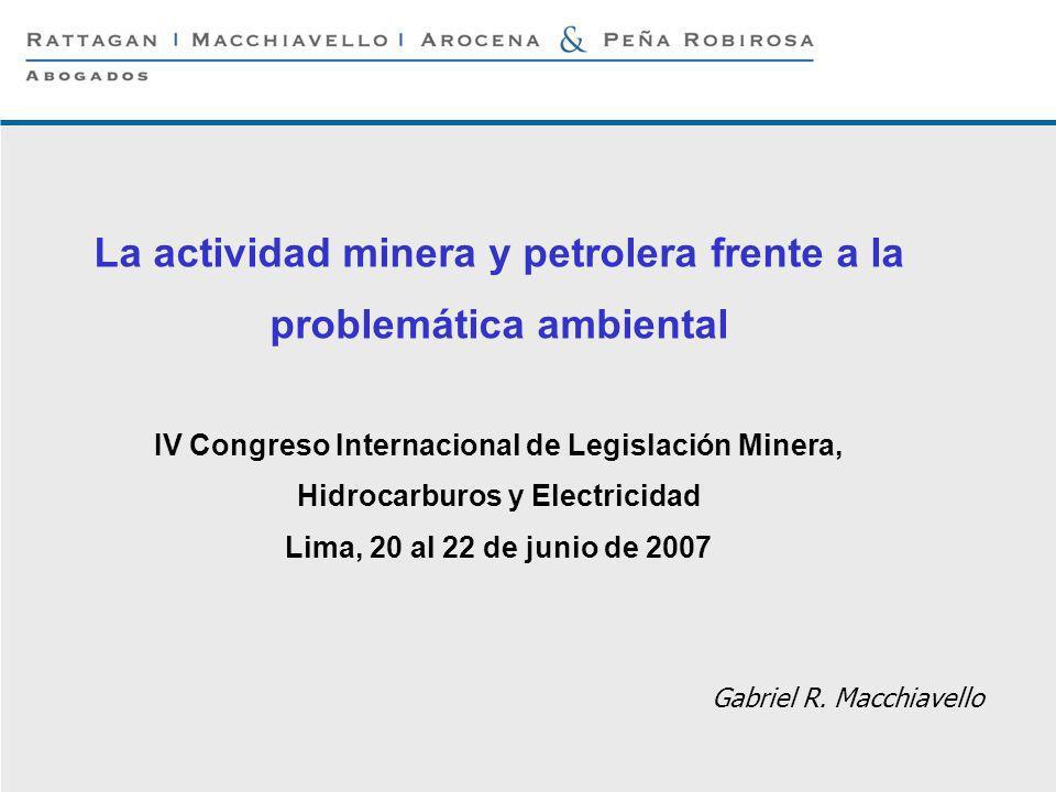 P 1 © Rattagan Macchiavello Arocena & Peña Robirosa, 2005 Gabriel R. Macchiavello La actividad minera y petrolera frente a la problemática ambiental I