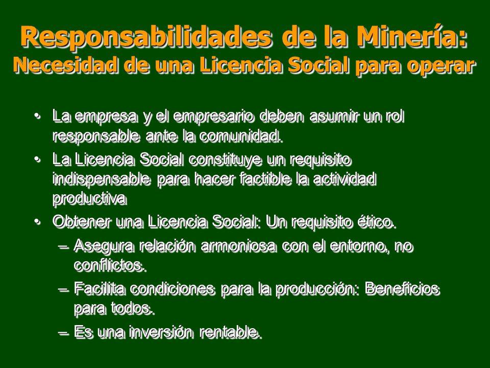 Responsabilidades de la Minería: Necesidad de una Licencia Social para operar La empresa y el empresario deben asumir un rol responsable ante la comun