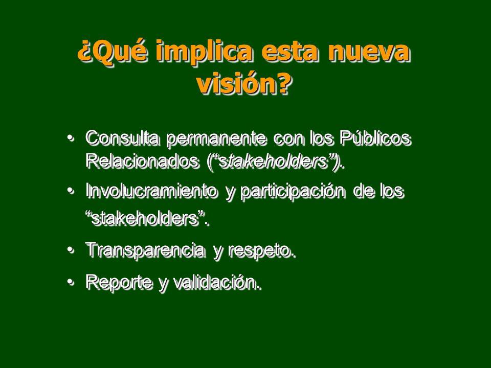 ¿Qué implica esta nueva visión? Consulta permanente con los Públicos Relacionados (stakeholders).Consulta permanente con los Públicos Relacionados (st