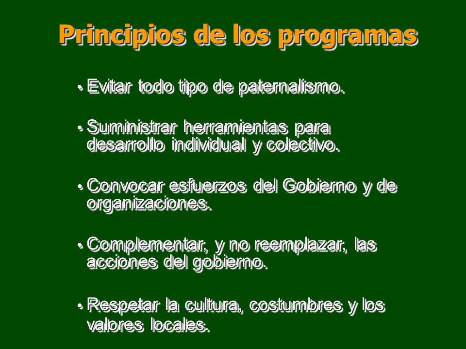 Principios de los programas Evitar todo tipo de paternalismo. Evitar todo tipo de paternalismo. Suministrar herramientas para desarrollo individual y