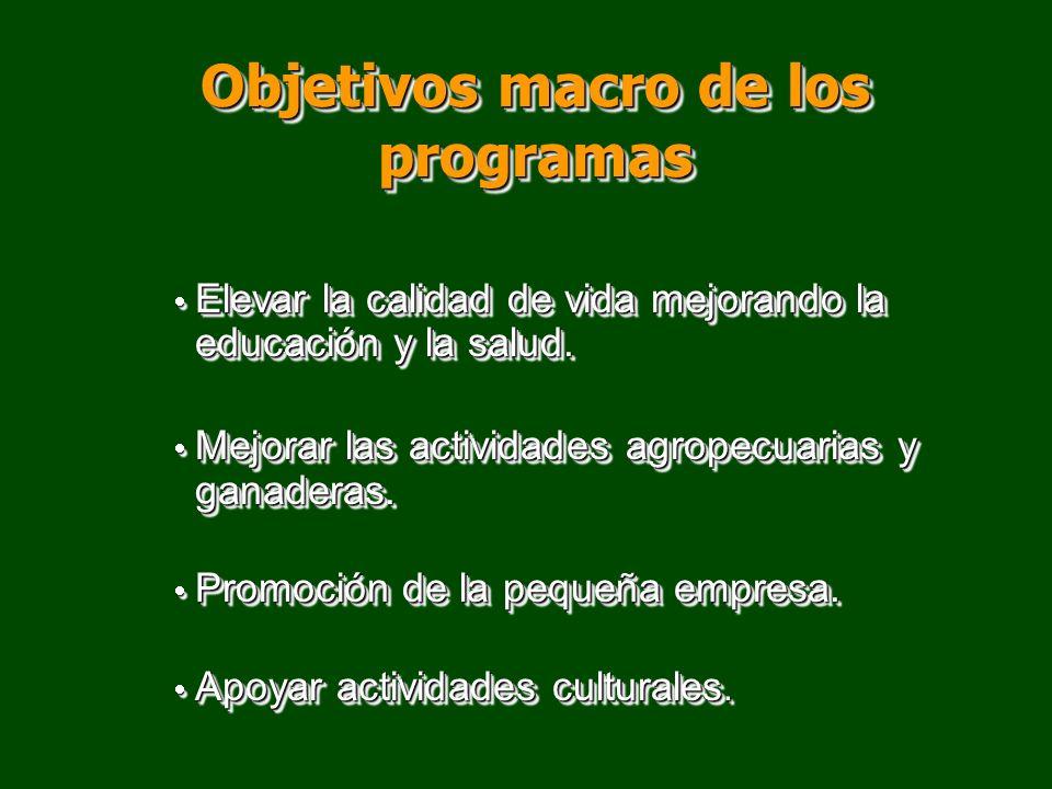 Objetivos macro de los programas Elevar la calidad de vida mejorando la educación y la salud. Elevar la calidad de vida mejorando la educación y la sa
