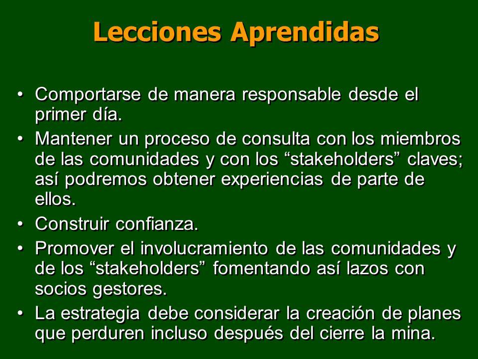 Lecciones Aprendidas Comportarse de manera responsable desde el primer día. Mantener un proceso de consulta con los miembros de las comunidades y con