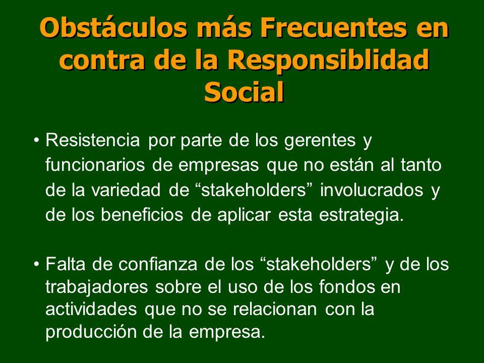 Obstáculos más Frecuentes en contra de la Responsiblidad Social Resistencia por parte de los gerentes y funcionarios de empresas que no están al tanto