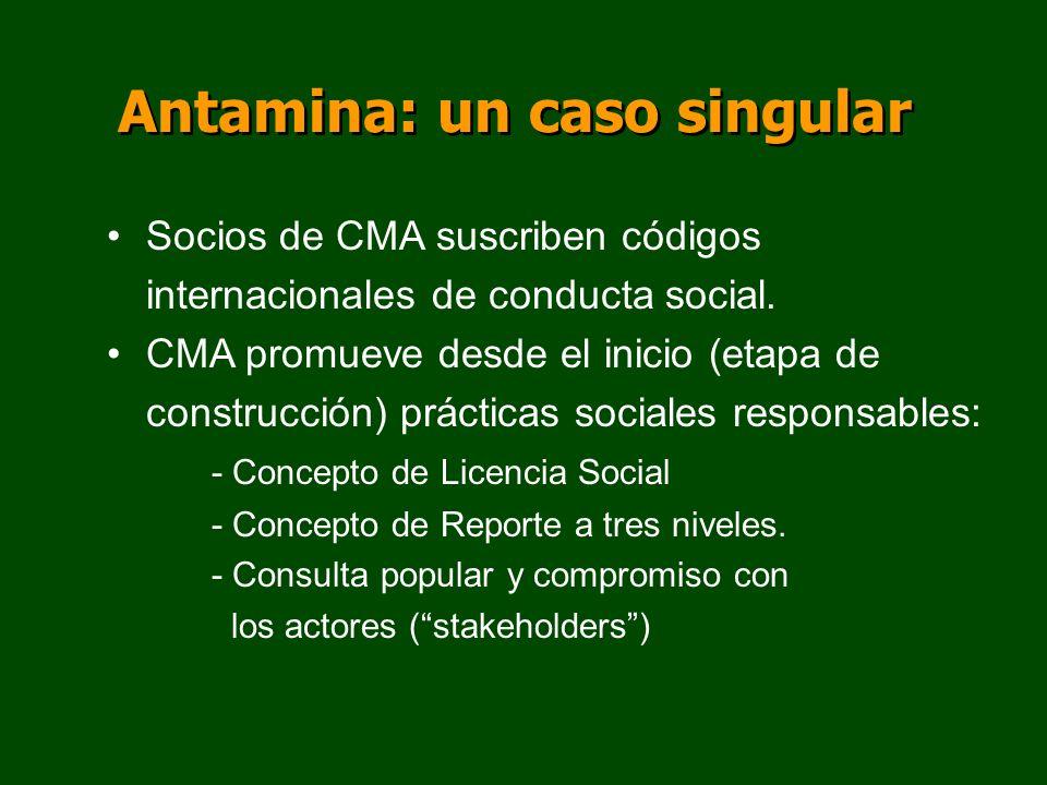 Antamina: un caso singular Socios de CMA suscriben códigos internacionales de conducta social. CMA promueve desde el inicio (etapa de construcción) pr