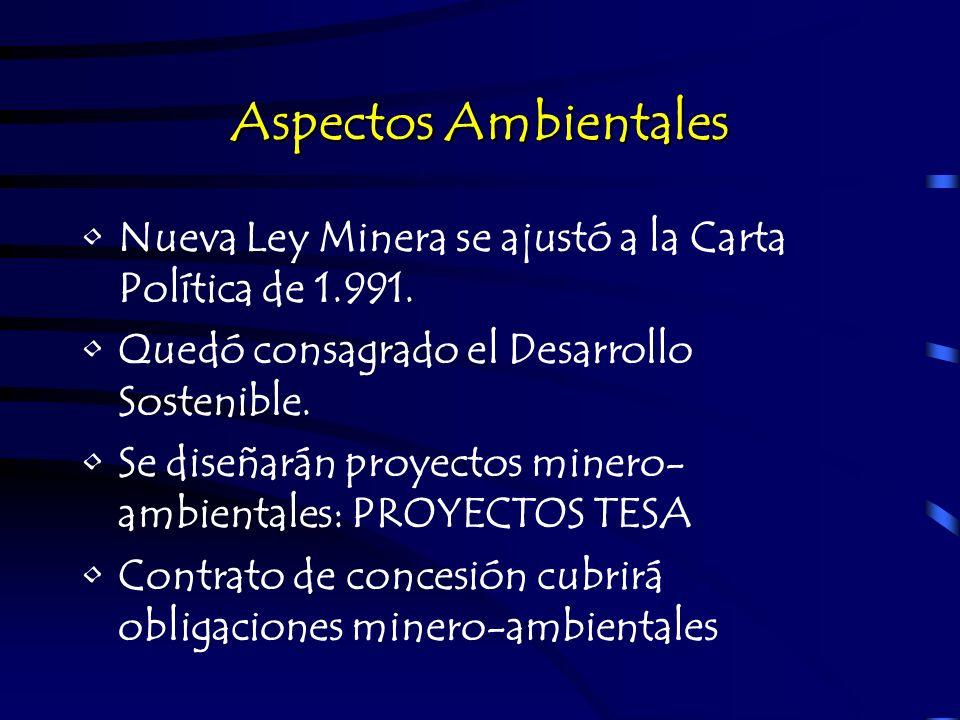 Aspectos Ambientales Nueva Ley Minera se ajustó a la Carta Política de 1.991. Quedó consagrado el Desarrollo Sostenible. Se diseñarán proyectos minero