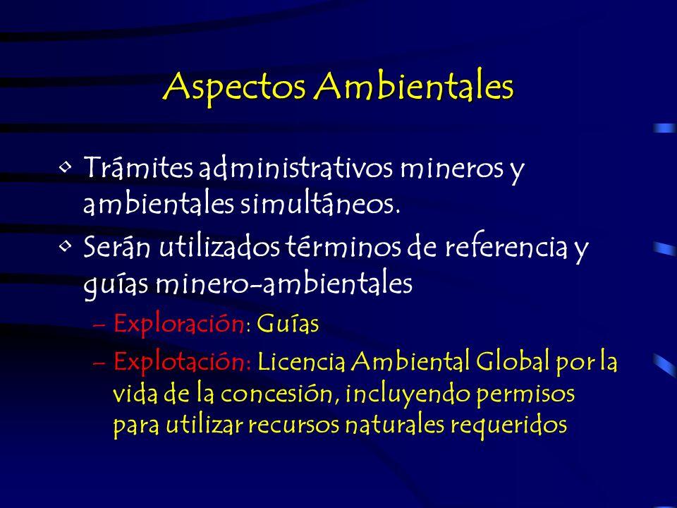 Aspectos Ambientales Trámites administrativos mineros y ambientales simultáneos. Serán utilizados términos de referencia y guías minero-ambientales –E