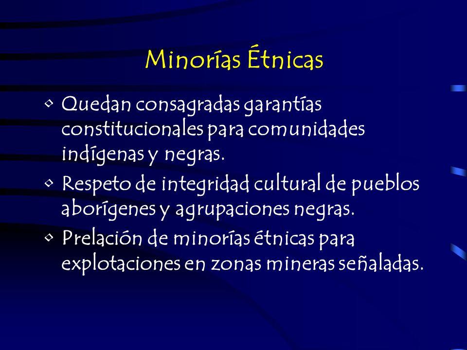 Minorías Étnicas Quedan consagradas garantías constitucionales para comunidades indígenas y negras. Respeto de integridad cultural de pueblos aborígen