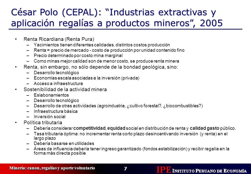 7 Minería: canon, regalías y aporte voluntario César Polo (CEPAL): Industrias extractivas y aplicación regalías a productos mineros, 2005 Renta Ricard
