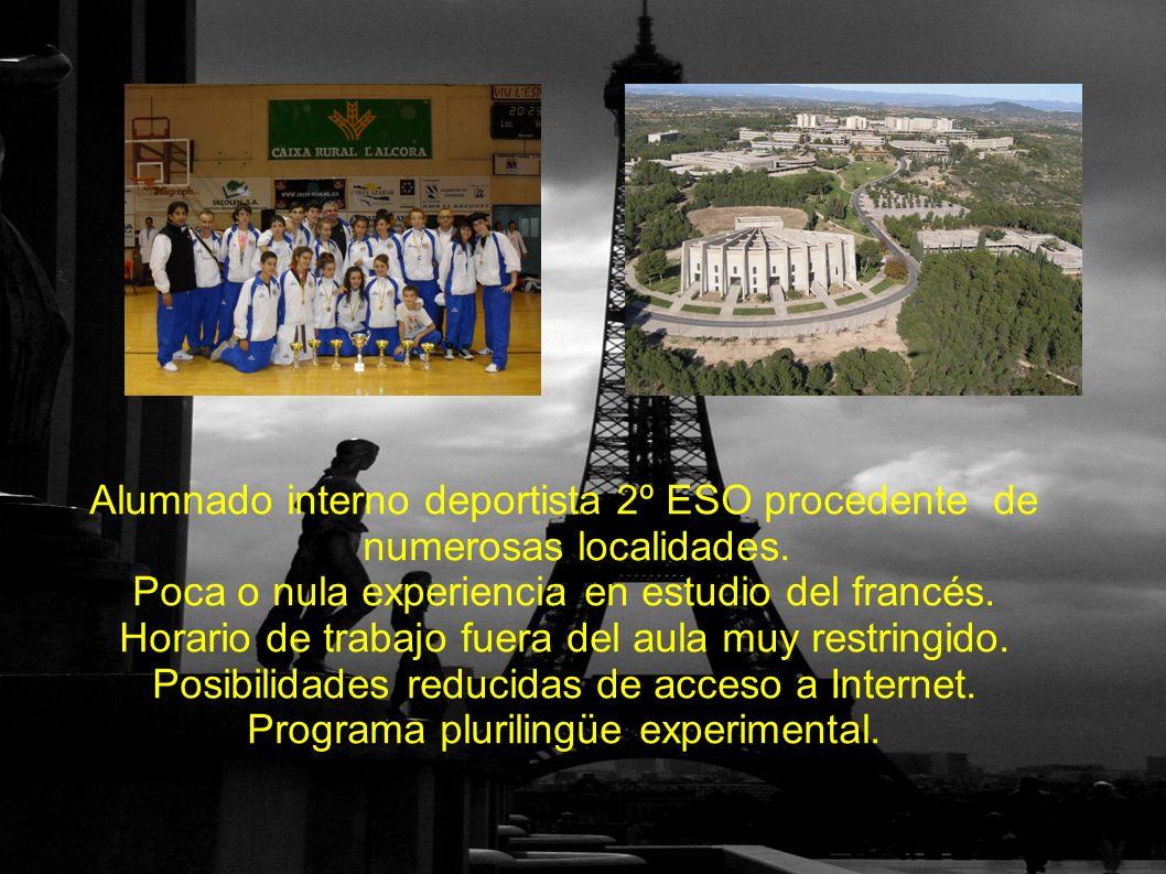 Alumnado interno deportista 2º ESO procedente de numerosas localidades.