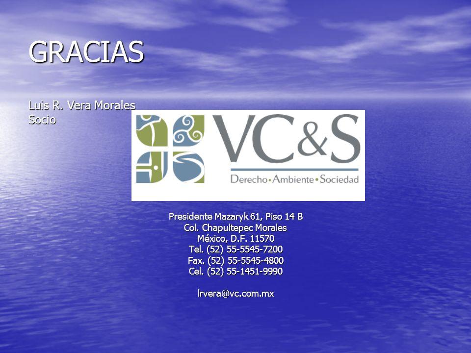 GRACIAS Luis R. Vera Morales Socio Presidente Mazaryk 61, Piso 14 B Col. Chapultepec Morales México, D.F. 11570 Tel. (52) 55-5545-7200 Fax. (52) 55-55