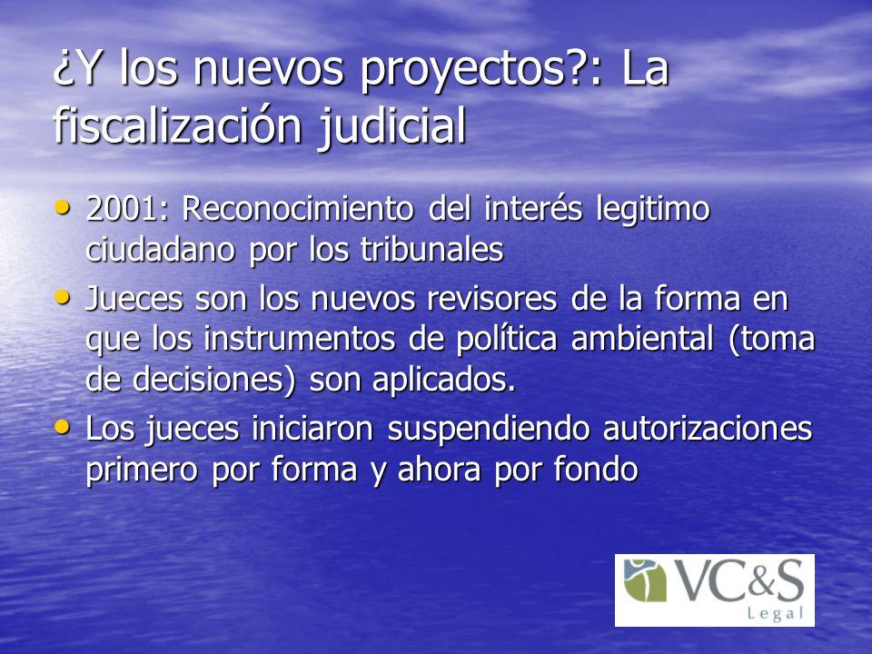 ¿Y los nuevos proyectos?: La fiscalización judicial 2001: Reconocimiento del interés legitimo ciudadano por los tribunales 2001: Reconocimiento del in