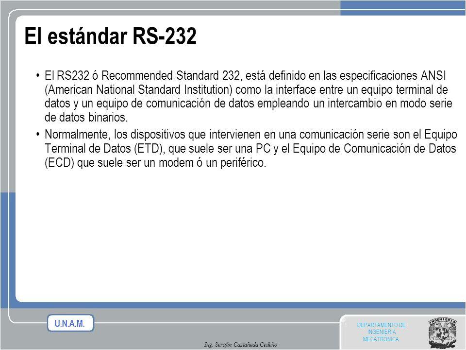 DEPARTAMENTO DE INGENIERIA MECATRÓNICA. Ing. Serafin Castañeda Cedeño El estándar RS-232 El RS232 ó Recommended Standard 232, está definido en las esp