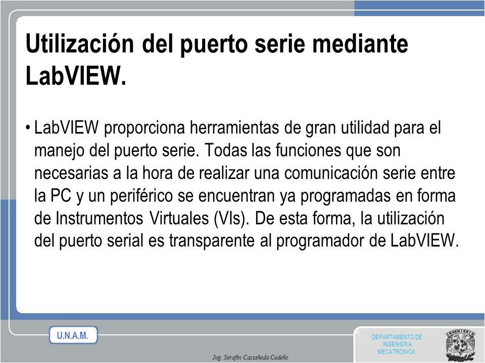 DEPARTAMENTO DE INGENIERIA MECATRÓNICA. Ing. Serafin Castañeda Cedeño Utilización del puerto serie mediante LabVIEW. LabVIEW proporciona herramientas