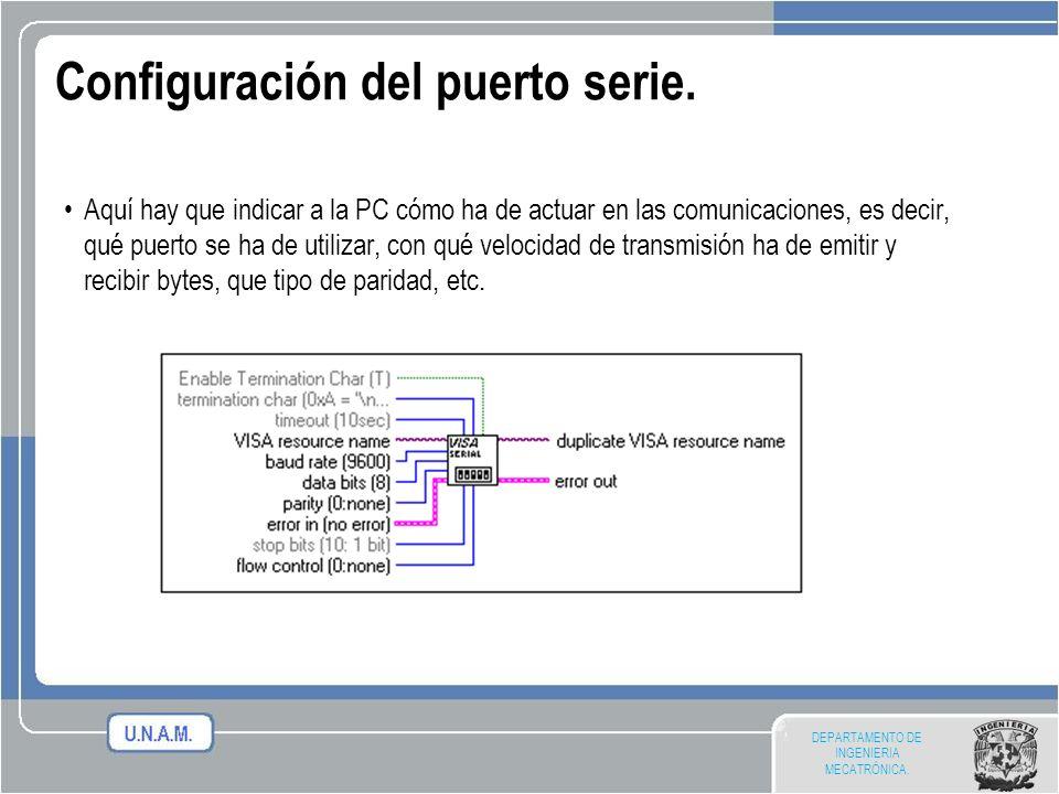 DEPARTAMENTO DE INGENIERIA MECATRÓNICA. Configuración del puerto serie. Aquí hay que indicar a la PC cómo ha de actuar en las comunicaciones, es decir