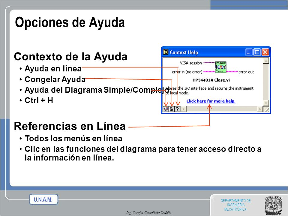 Ing. Serafin Castañeda Cedeño Opciones de Ayuda Contexto de la Ayuda Ayuda en línea Congelar Ayuda Ayuda del Diagrama Simple/Complejo Ctrl + H Referen