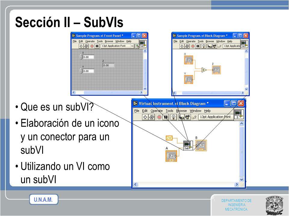 DEPARTAMENTO DE INGENIERIA MECATRÓNICA. Sección II – SubVIs Que es un subVI? Elaboración de un icono y un conector para un subVI Utilizando un VI como