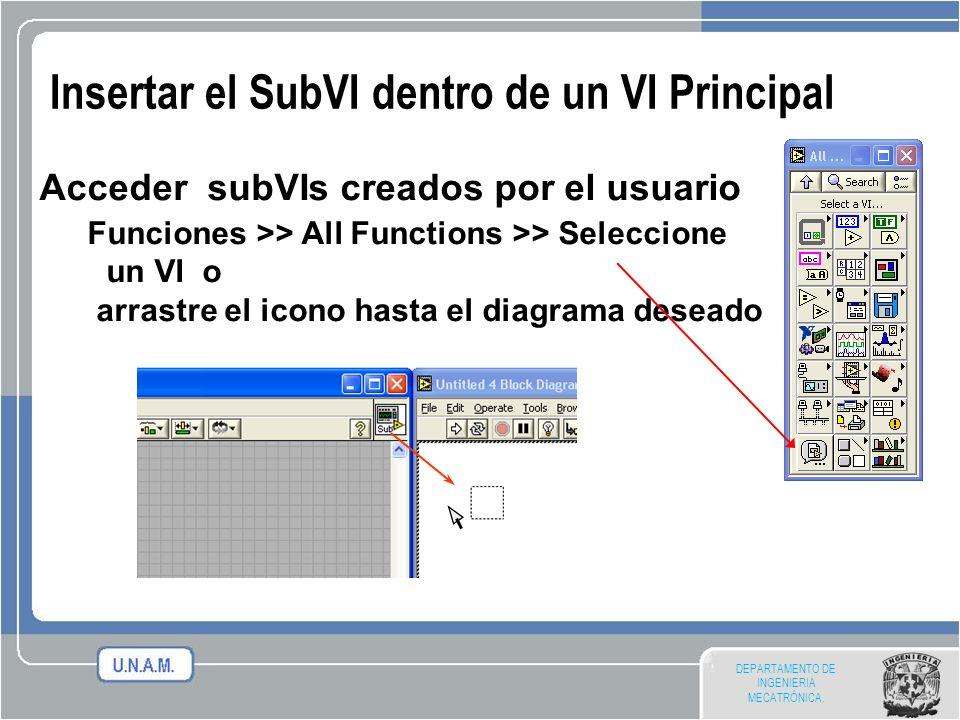 DEPARTAMENTO DE INGENIERIA MECATRÓNICA. Insertar el SubVI dentro de un VI Principal Acceder subVIs creados por el usuario Funciones >> All Functions >