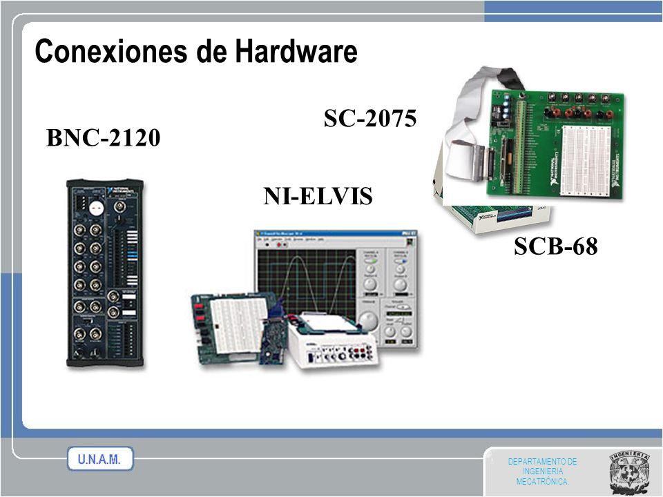 DEPARTAMENTO DE INGENIERIA MECATRÓNICA. Conexiones de Hardware BNC-2120 SCB-68 NI-ELVIS SC-2075