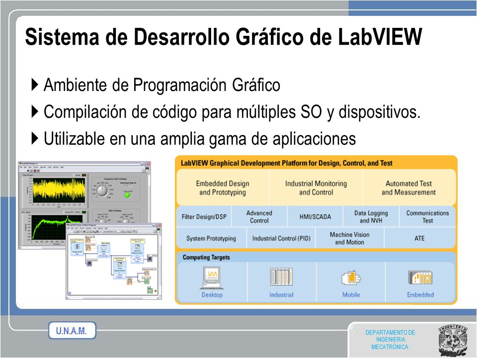 DEPARTAMENTO DE INGENIERIA MECATRÓNICA. Ambiente de Programación Gráfico Compilación de código para múltiples SO y dispositivos. Utilizable en una amp