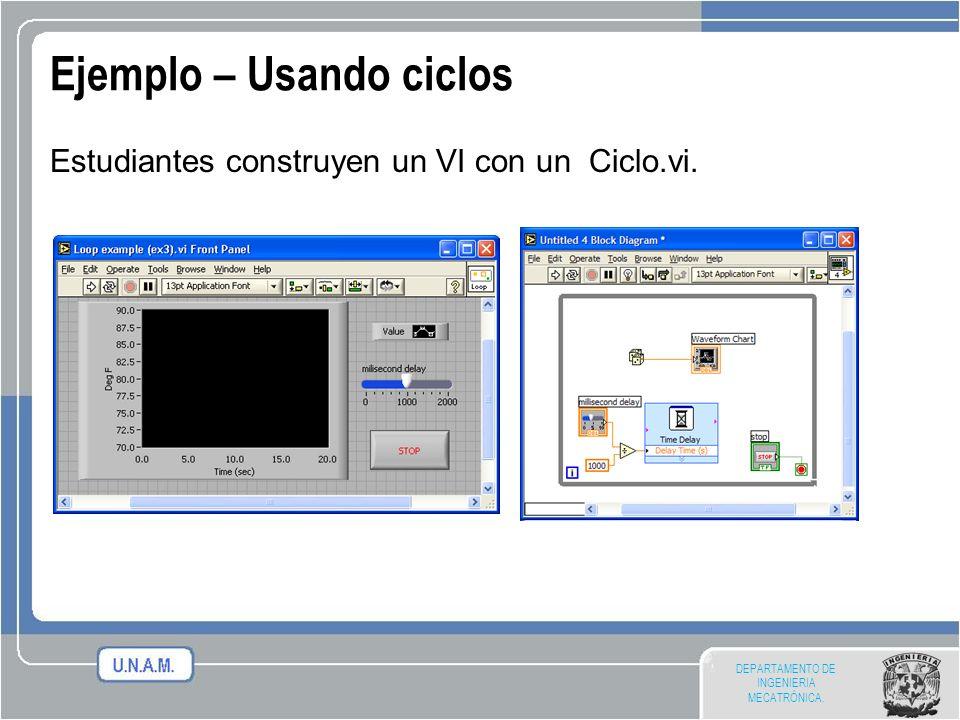 DEPARTAMENTO DE INGENIERIA MECATRÓNICA. Ejemplo – Usando ciclos Estudiantes construyen un VI con un Ciclo.vi.