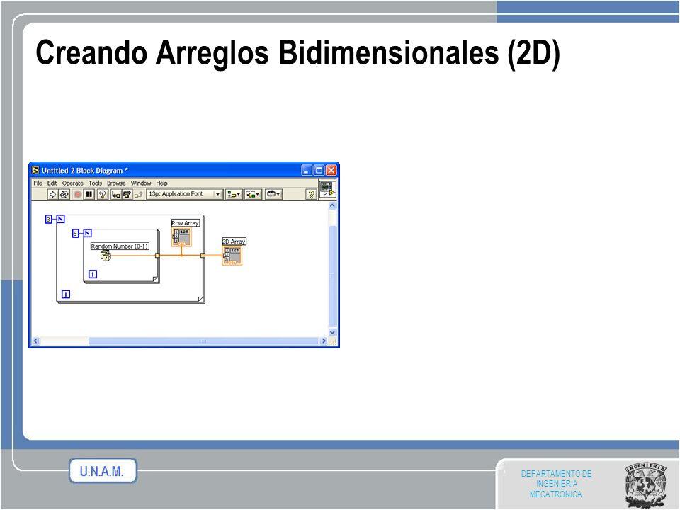 DEPARTAMENTO DE INGENIERIA MECATRÓNICA. Creando Arreglos Bidimensionales (2D)