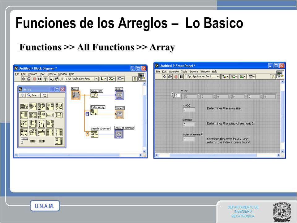 DEPARTAMENTO DE INGENIERIA MECATRÓNICA. Funciones de los Arreglos – Lo Basico Functions >> All Functions >> Array
