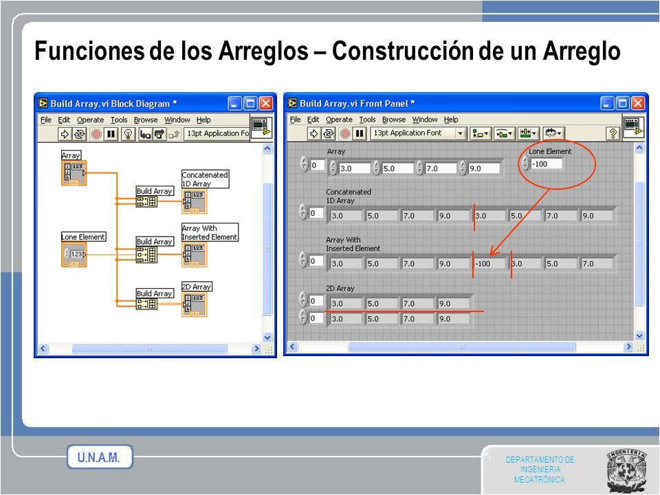 DEPARTAMENTO DE INGENIERIA MECATRÓNICA. Funciones de los Arreglos – Construcción de un Arreglo
