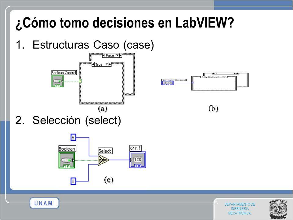 DEPARTAMENTO DE INGENIERIA MECATRÓNICA. ¿Cómo tomo decisiones en LabVIEW? 1.Estructuras Caso (case) 2.Selección (select) (a)(b) (c)