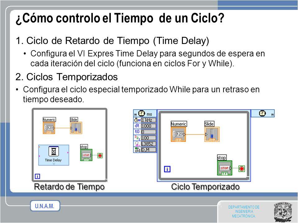 DEPARTAMENTO DE INGENIERIA MECATRÓNICA. ¿Cómo controlo el Tiempo de un Ciclo? 1. Ciclo de Retardo de Tiempo (Time Delay) Configura el VI Expres Time D