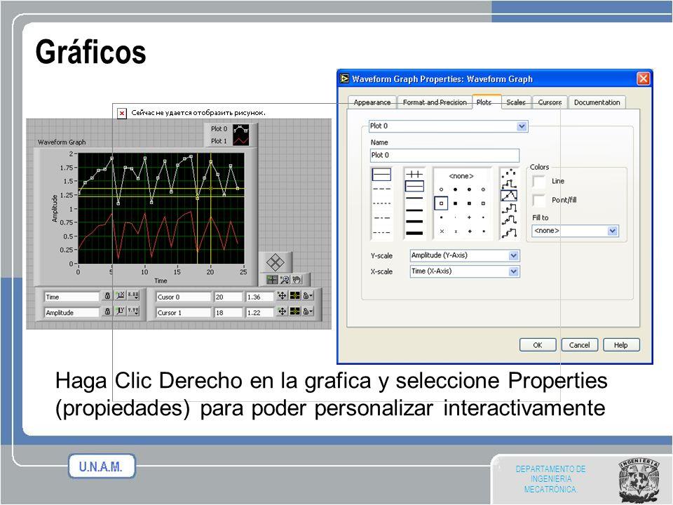 DEPARTAMENTO DE INGENIERIA MECATRÓNICA. Gráficos Haga Clic Derecho en la grafica y seleccione Properties (propiedades) para poder personalizar interac