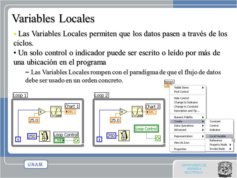DEPARTAMENTO DE INGENIERIA MECATRÓNICA. Variables Locales Las Variables Locales permiten que los datos pasen a través de los ciclos. Las Variables Loc
