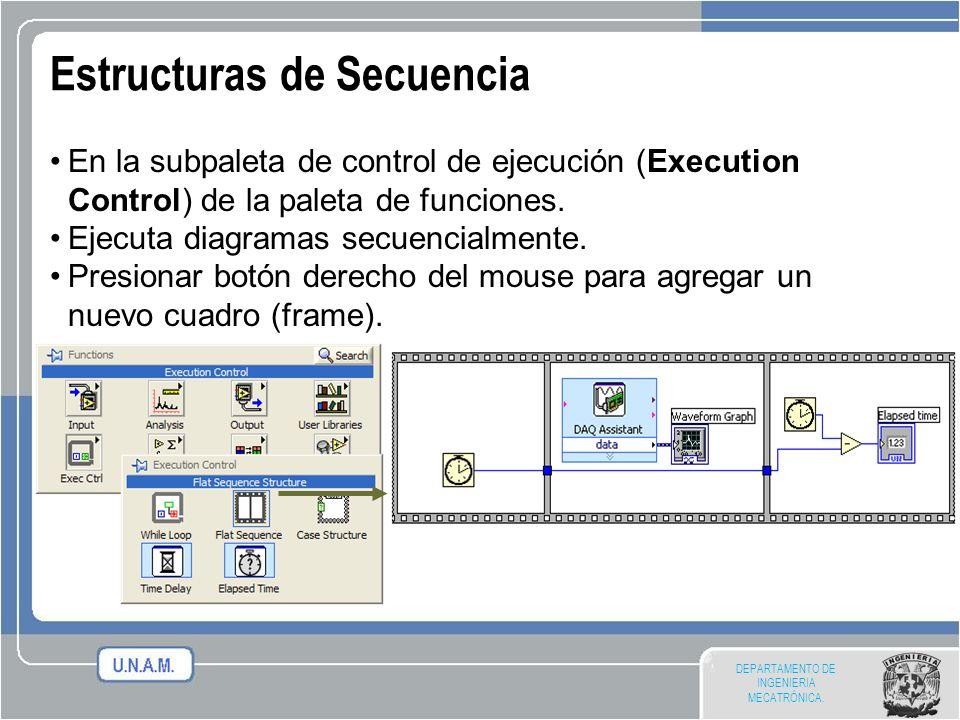 DEPARTAMENTO DE INGENIERIA MECATRÓNICA. Estructuras de Secuencia En la subpaleta de control de ejecución (Execution Control) de la paleta de funciones